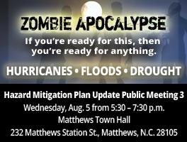 Hazard mitigation public meeting on August 5 at Matthews Town Hall, 5:30 p.m.