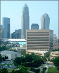 Charlotte-Mecklenburg Government Center and city skyline in background